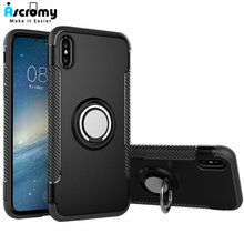 Ascromy Dual Layer Armor Case untuk iPhone 7 Ring Holder Grip Stand Pelindung Hard Shell Lembut Bumper Cover UNTUK iPhone 8X6 Plus(China)