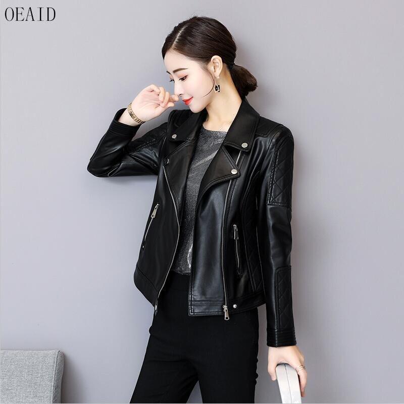 Motorcycle   Leather   Clothing Female 2019 New   Leather   Jacket Women Short Slim Spring And Autumn   Leather   Coat Women Black OEAID