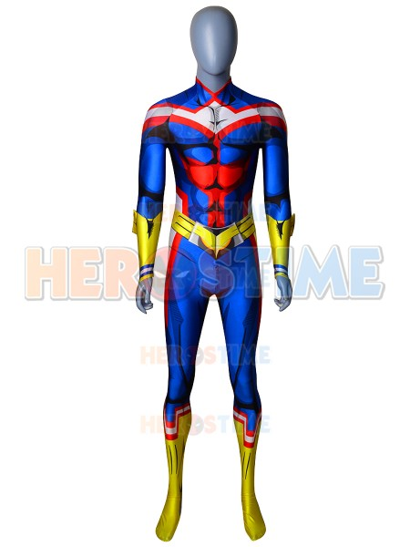 3D Print All Might Uniform My Hero Cosplay Costum Spandex Anime Cosplay All Might Halloween Costume for Adult Men/Kids Hot Sale