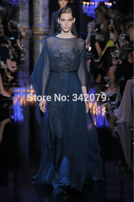 Ph1193 Midnight Blue Dress Chiffon Pearls Stones High Slit Elie Saab 2014 2015 Haute Couture Dubai Kaftan In Evening Dresses From Weddings Events On