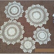 Taza posavasos redonda de algodón Vintage de 15/20/25 cm, cocina, alfombra para mesa de comedor, tapete de té de encaje