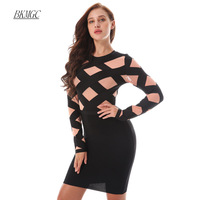 BKMGC Women Patchwork O Neck Fashion Dress 2017 Newest Apricot Black Party Bodycon Dresses Celebrity Casual