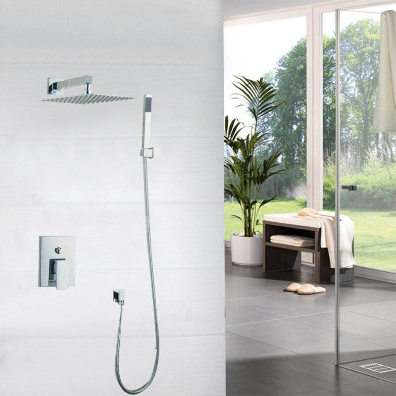 Waterfall Bathroom Shower Set Torneira Two Way Wall Mounted Shower Sets Mixer Diverter +10 Head & Hand Held Shower Brass Mixer
