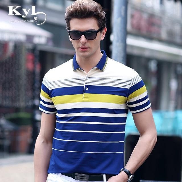 8c8dcc2f4ca KUNYULANG Summer men s business casual polo shirt youth stripes short  sleeve summer dress