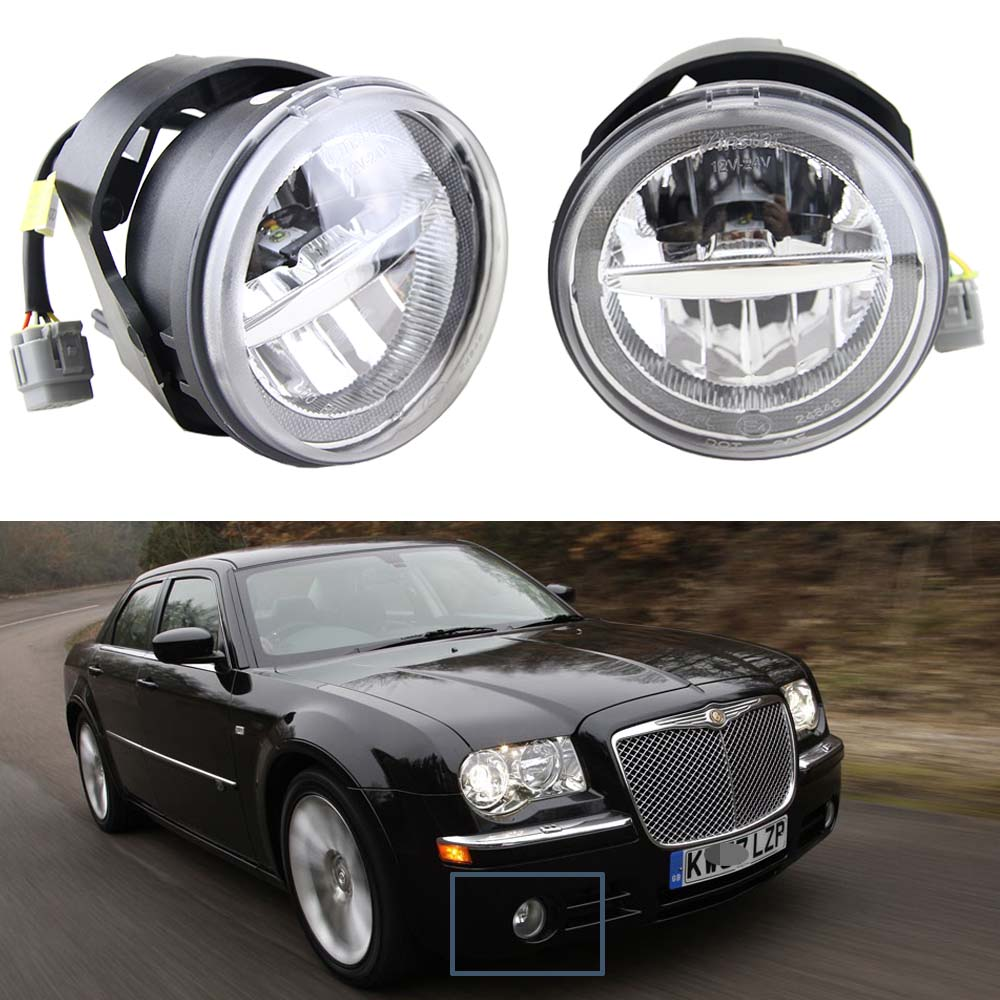 1 Pair 10W 12V Led Fog Light with DRL Halo Angel eyes For Chrysler 300 C SRT8 Sedan 4-Door 2005 6000K white with E4 Approved angel 300