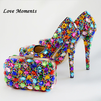 Love Moments Women wedding shoes with matching bags Bride High shoes up heel platform shoes Ladies party shoes Plus size