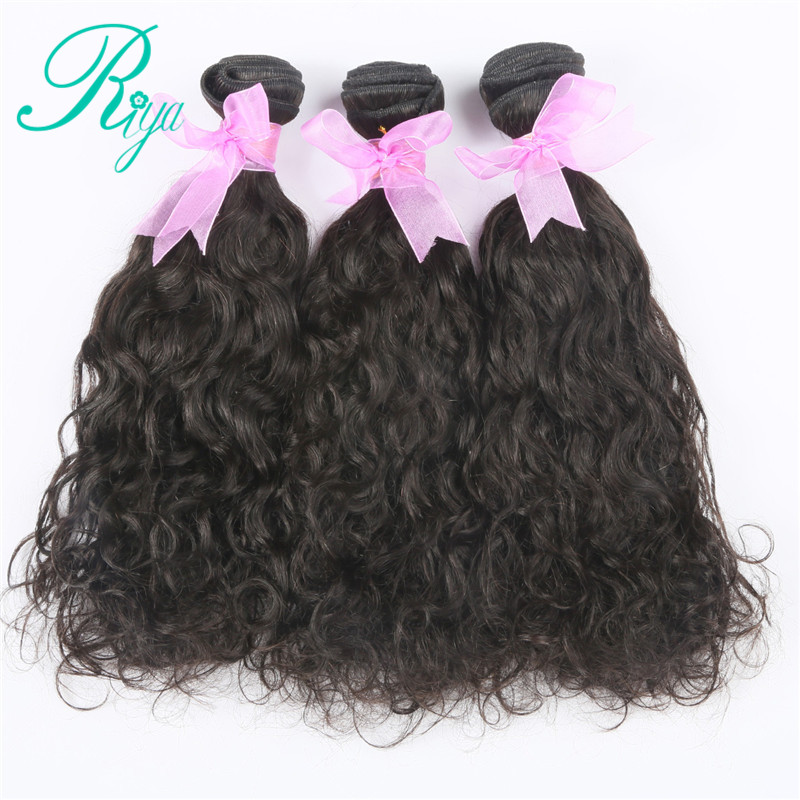 Riya Hair Brazilian Human Hair Water Wave Weft 3 Bundles Human Hair Weave Natural Color Remy Hair Extensions With Free Part