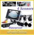Hot 2015 de 3.5 Pulgadas LCD A Prueba de agua Kit de Aparcamiento Monitor Retrovisor con 4 Sensores de Aparcamiento y Cámara de Visión Trasera Inversa