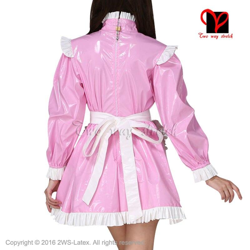 8ae6d24f43495 Sexy Rose et Blanc En Caoutchouc robe et blanc Latex tablier ...