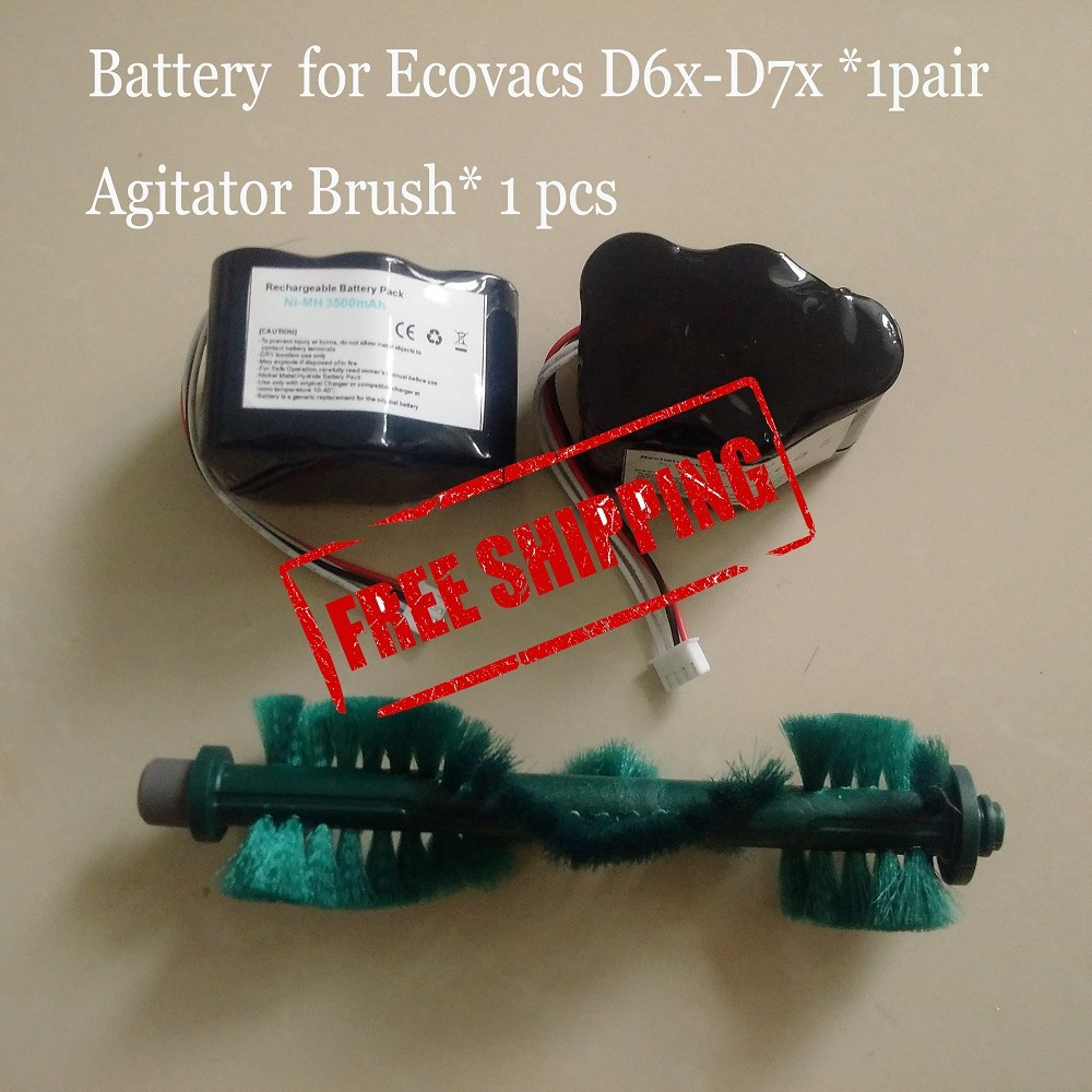 2 Pieces/lot Battery 3500mAh 6V Agitator Brush for Ecovacs Deebot Deepoo D62 D63 D65 D66 D68 D77 D79 3500mah 14 4v cleaner battery for ecovacs deebot d54 deepoo d56 d58 with free side brush