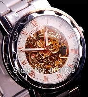 Luxury Skeleton Automatic Mechanical White Dial Mens Wrist Watch Wholesale Price Nice Gift A499