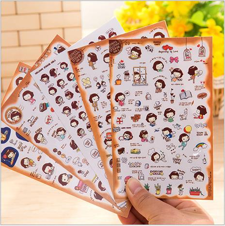 50pcs/lot Lovely Cute Korean Girls Sticker 15*9.5cm Kids Education Diy Toy Creative Cartoon Mirror/cup/wallet/notebook Pegatinas