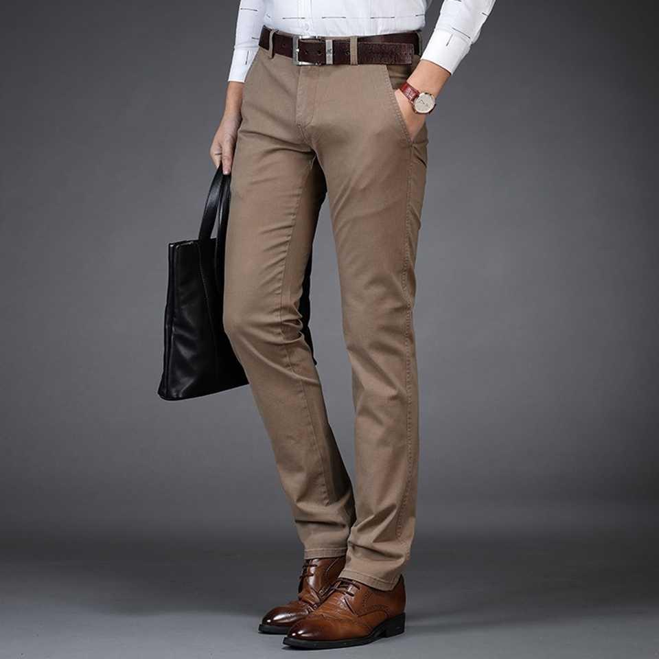 男チノパンツ 98% 綿 2% スパンデックスポケット正式なビジネスファッション男性 2018 服ブルーブラックカーキ男性カジュアルなズボン