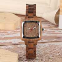 Retro Wood Women Watch Unique Square Circle Dial Design Full Wooden Bracelet Woman Ladies Clock Quartz Wristwatch dames horloges