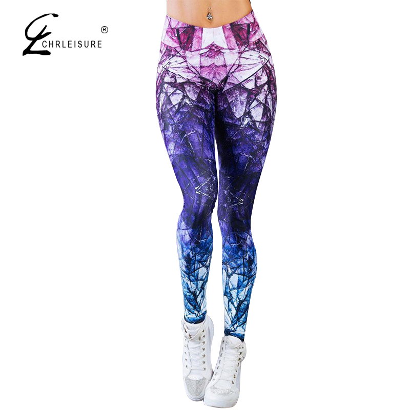 CHRLEISURE Women Fitness   Leggings   Women High Waist   Leggings   Mujer Push Up Workout Leggins Femme Mixed Color Printing