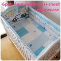 Promotion! 6/7PCS Baby Crib Bedding Set for Girl Boys Cartoon Horse Newborn Baby Bed Linen  ,120*60/120*70cm