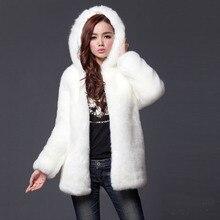 Faux Fur Coat Black White fur coat fourrure Women pelliccia ecologica manteaux fausse fourrure longs soft thick warm coats