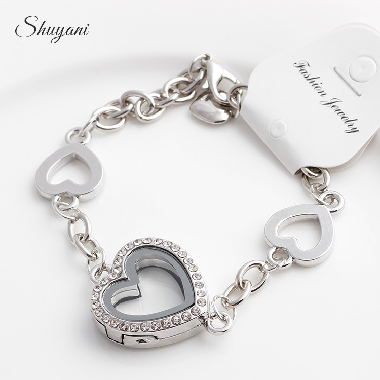2016 New Heart Floating Locket Charm Bracelet & Bangles Rhinestone Glass Living Memory Locket Pendant Bracelets Women
