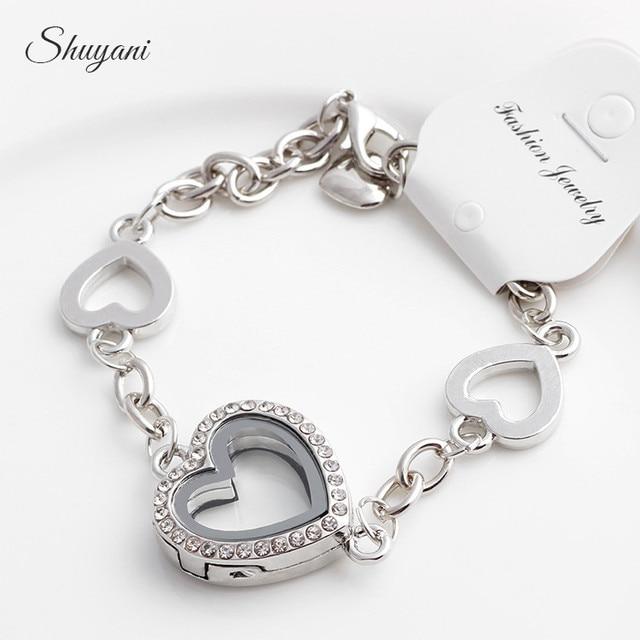 2017 New Heart Floating Locket Charm Bracelet Bangles Rhinestone Gl Living Memory Pendant Bracelets