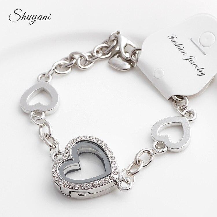 Les femmes Mémoire Charme Chaîne Bracelets Strass Médaillon Coeur flottant Bracelet