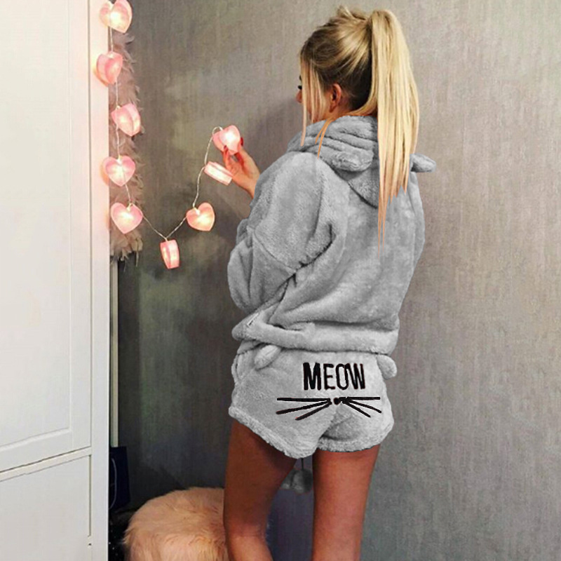 QWEEK Autumn Winter Lovely Cat Embroidery Pajama Set Women Night Suits Ladies Hooded Lounge Nightwear Women Cotton Sleepwear Set