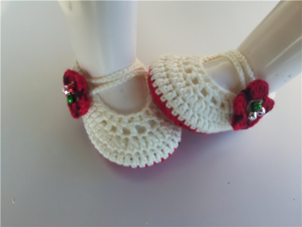Crochet Knitt booties Crochet Baby lovely shoe for red flower Socks infant Newborn Shoes/Toddler Shoes