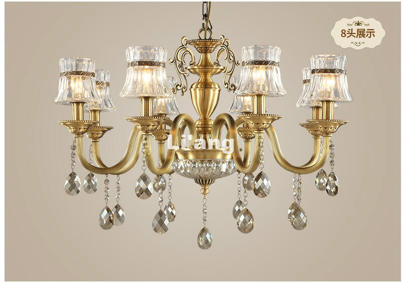 Free Shipping Modern European Brass Chandelier Light Fixture Antique Brass Pendant, Vintage Copper Crystal Lamp 100% GuaranteedFree Shipping Modern European Brass Chandelier Light Fixture Antique Brass Pendant, Vintage Copper Crystal Lamp 100% Guaranteed