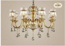 Бесплатная доставка Современные европейские латунь люстра светильник кулон античная латунь, старинные кристаллов меди лампы 100% гарантированы