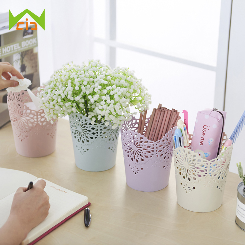 WCIC Flower Pots Decorative Hollow Pencil Holder Makeup Barrels Box Office Organizer Stationery Pen Storage Basket Flora Planter