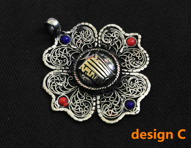 C 8 5x Pendentif Trèfle de cœur métal Tibetan 21 x 14 mm