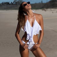 OMKAGI Brand Striped Sexy One Piece Swimwear Women Summer Swim Bathing Suit Monokini Elastic Halter Bandage
