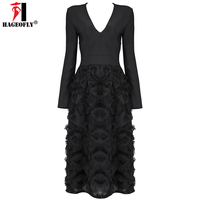 HAGEOFLY Sexy Deep V Tassel Full Sleeve Bandage Dress New Arrival 2017 Elegant Black Mid Calf Midi Party Dress Vestido Women