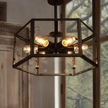 American Vintage Шестигранные Стекло Утюг Потолочные Светильники для Столовой Ресторан потолочный светильник Эдисон Лампы E27 патрон