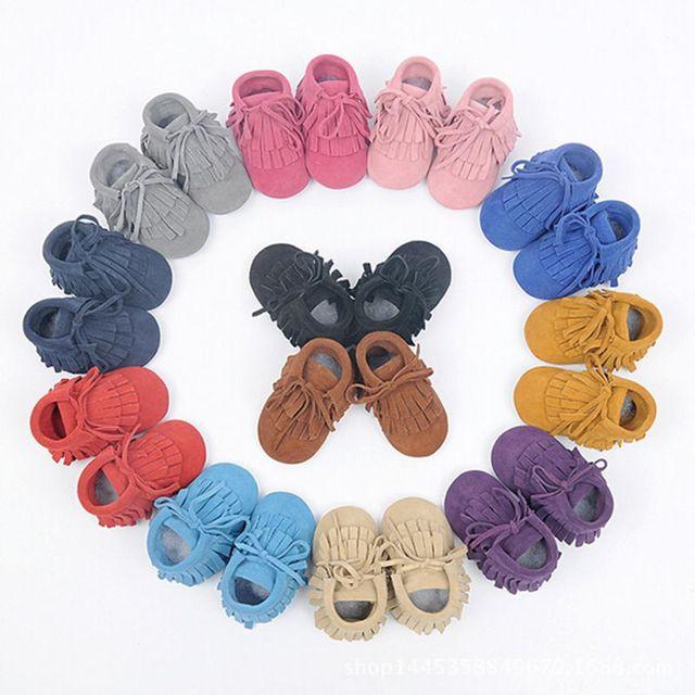 2016 con cordones de cuero genuino hechos a mano zapatos de bebé primeros caminante antideslizante zapatos de las muchachas Mocassina suave Moccs Suede Kids zapatos