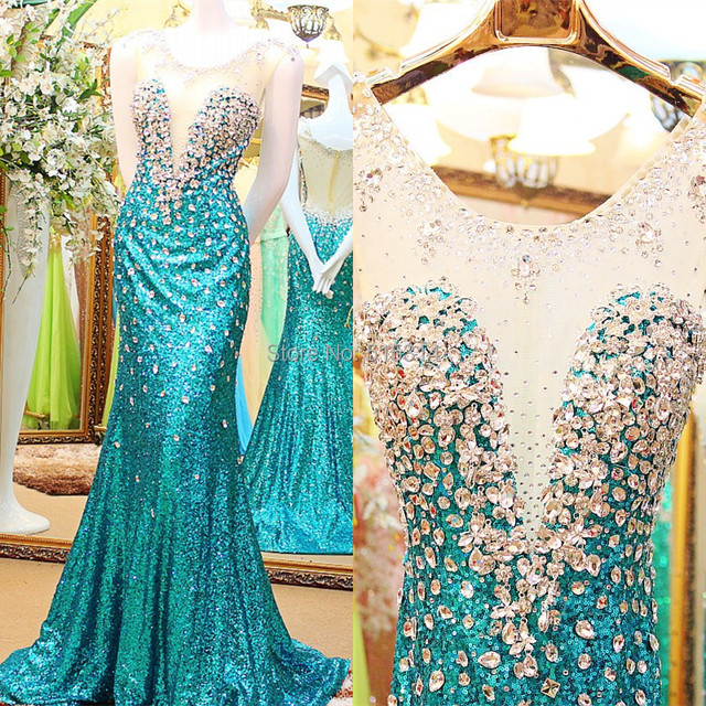 Free Shipping 2019 New Sexy Mermaid Scoop Sequins Crystal Beading Evening Dress Long Dubai Kaftan Custom Size EX21