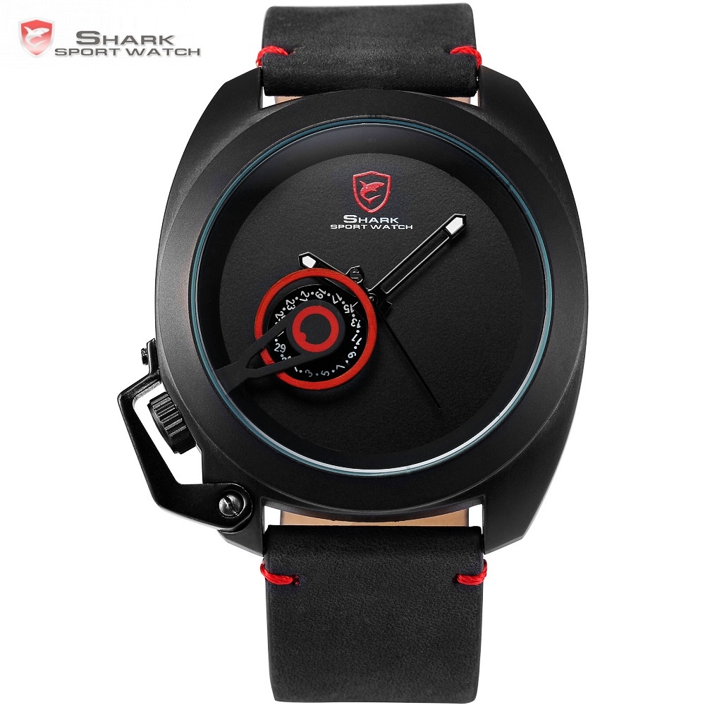 Tawny SHARK Sport Watch Red Date Crown Guard Design Male Luxury Genuine Leather Wrist Watches Mens