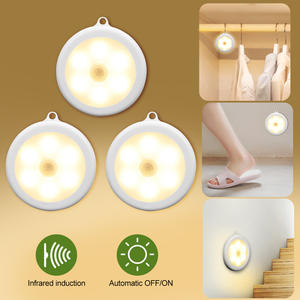 136pcs 6 LEDs Motion Sensor Cabinet Light Dia 80mm Wireless Detector Light Auto OnOff Lamp Protect Eye Lamp Cabinet Light