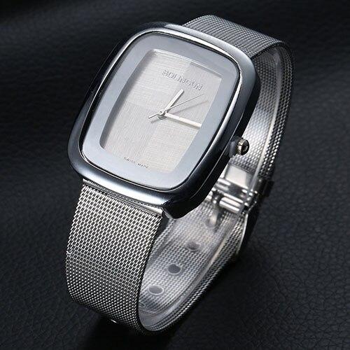 Unisex Golden Silver Alloy Band Concise Analog Quartz Business Wrist Watch