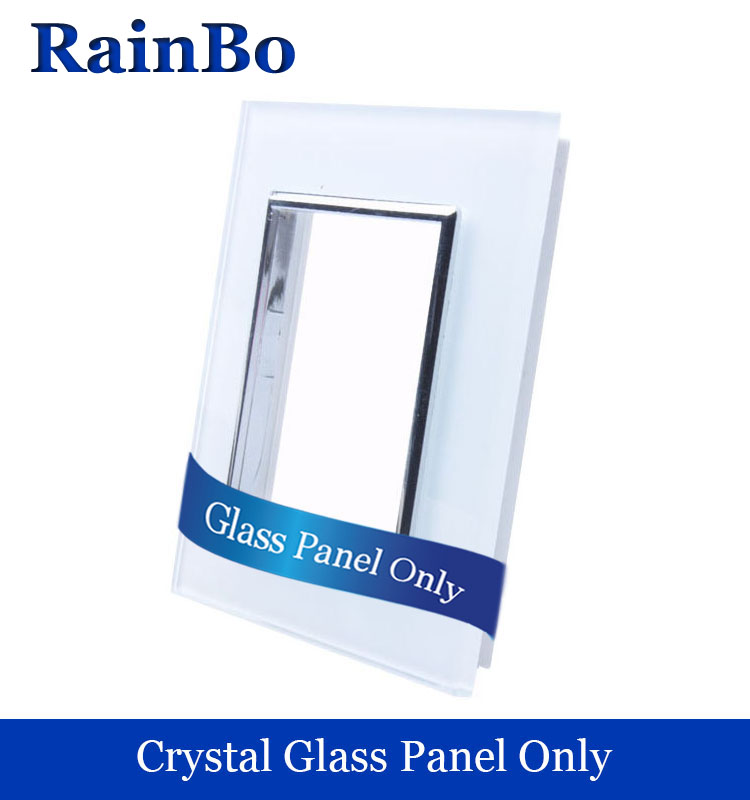 RainBo Free shipping Luxury  Crystal White Glass Panel 1Frames Wall Socket Panel 80mm*80mm EU Standard  DIY Accessories A18W/B atlantic brand double tel socket luxury wall telephone outlet acrylic crystal mirror panel electrical jack