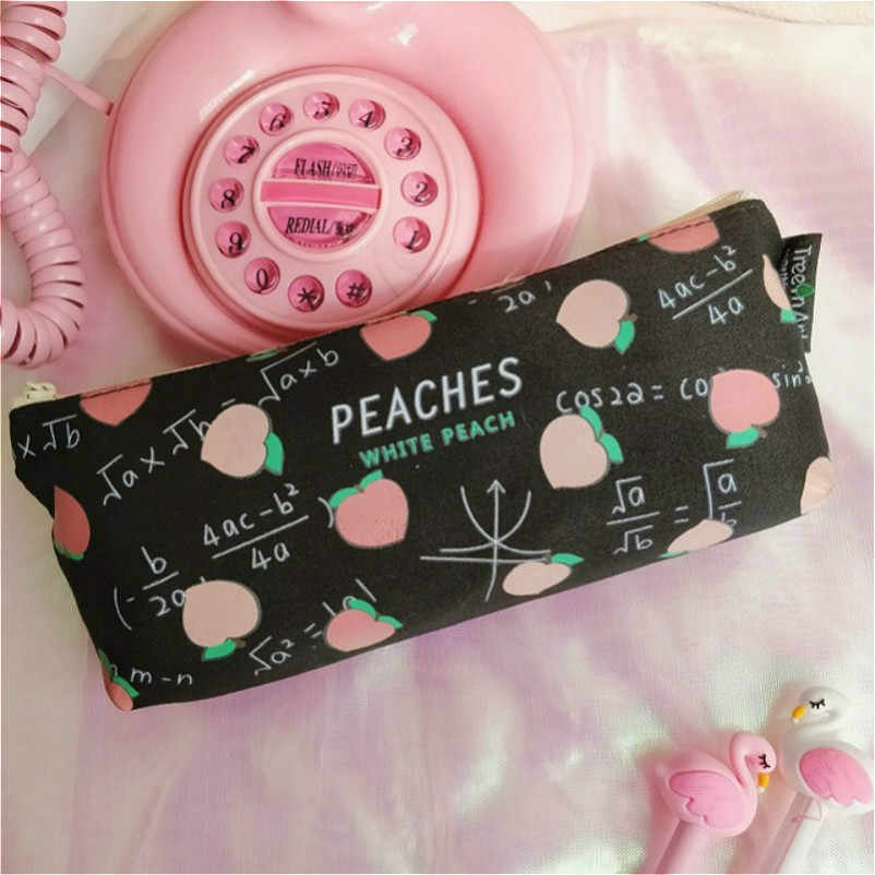 LoLede's Store 1 Uds. Función Peach Simple Pencil bags Kawaii Girl Pencil Case Durable gran capacidad suministros escolares papelería