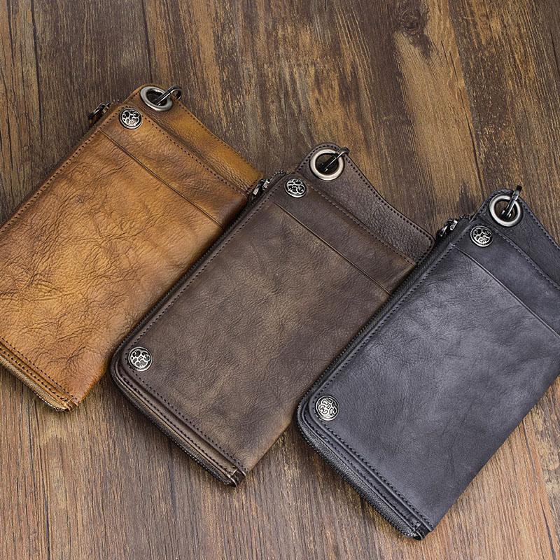 Bagaj ve Çantalar'ten Cüzdanlar'de AETOO El Yapımı deri cüzdan uzun cüzdan retro erkekler el çantası deri büyük kapasiteli fermuarlı telefon çanta düzenleyici Vintage'da  Grup 2