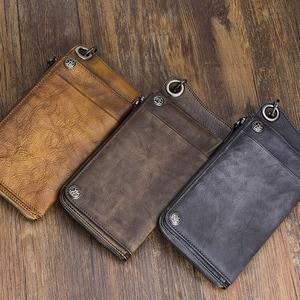 Image 2 - Carteira aetoo artesanal de couro, longa, masculina, retrô, de mão, grande capacidade, com zíper, organizador de telefone, vintage