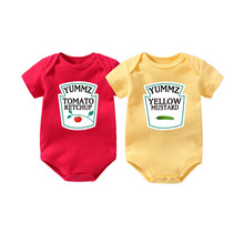 Culbutomind Yummz Tomato Ketchup Yellow Mustard Red and Twins Baby Clothes Boys Girls Bodysuits Birthday
