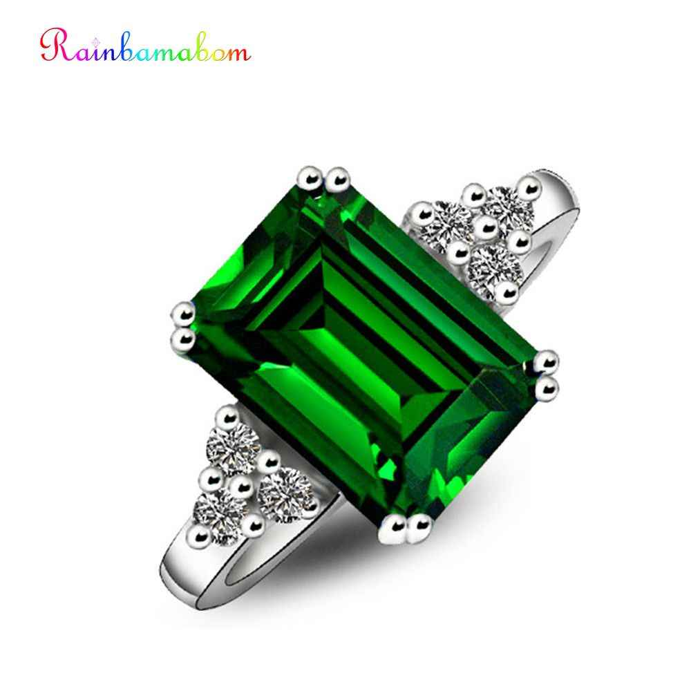 Rainbamabom คลาสสิก 925 เงินสเตอร์ลิงไพลิน Amethyst Citrine Emerald แต่งงานหมั้นแหวนเครื่องประดับขายส่ง