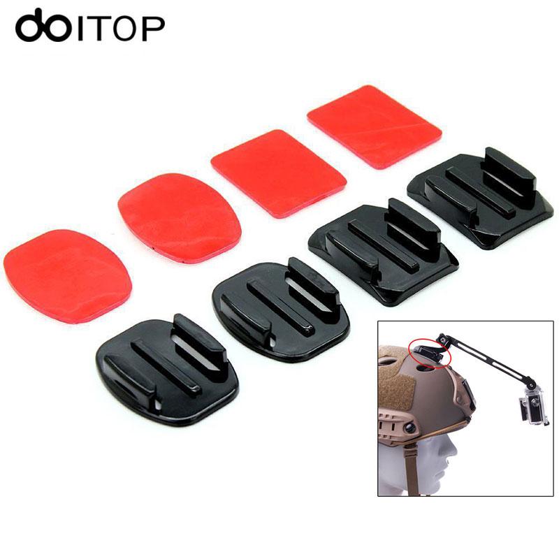 DOITOP 8PCS/Pack Helmet Accessories Flat Curved Adhesive Mount For Gopro Hero 4 3+ 3 2 Xiaoyi Sony Action Camera  #2