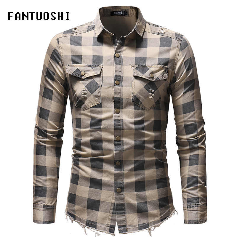 2018 autumn New Fashion Casual Men Shirt Long Sleeve plaid Slim Fit Shirt Men High Quality Cotton Denim shirt Mens Clothes