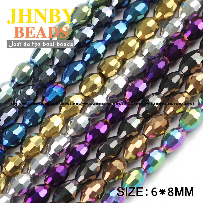 JHNBY Rice grains Austrian crystal beads oval shape plated color 50pcs 6*8mm Loose beads Jewelry bracelet accessories making DIY