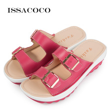 ISSACOCO Summer Womens' Slippers Buckle Real Leather Slides Shoes Solid Thick Sole Heels Beach Sandals Home Slippers Flip Flops цена