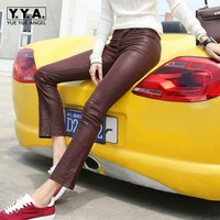 Office Ladies Slim Fit Luxury Sheepskin Real Leather Boot Cut Flare Pants Womens Sexy Stretchy Skinny Push Up Trousers Red Pants