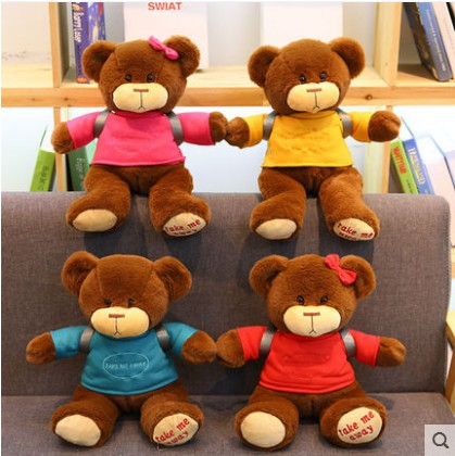 30 40cm plush hot new Cute Bear Boy Dressed Backpack Small Furry Couple Bear Teddy Doll good quality festival Christmas kids